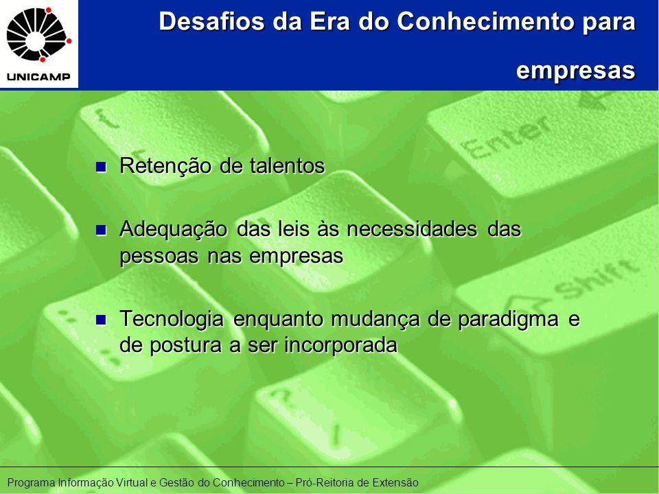 Desafios da Era do Conhecimento para empresas n Retenção de talentos n Adequação das leis às necessidades das pessoas nas empresas n Tecnologia enquanto mudança de paradigma e de postura a ser incorporada Programa Informação Virtual e Gestão do Conhecimento – Pró-Reitoria de Extensão