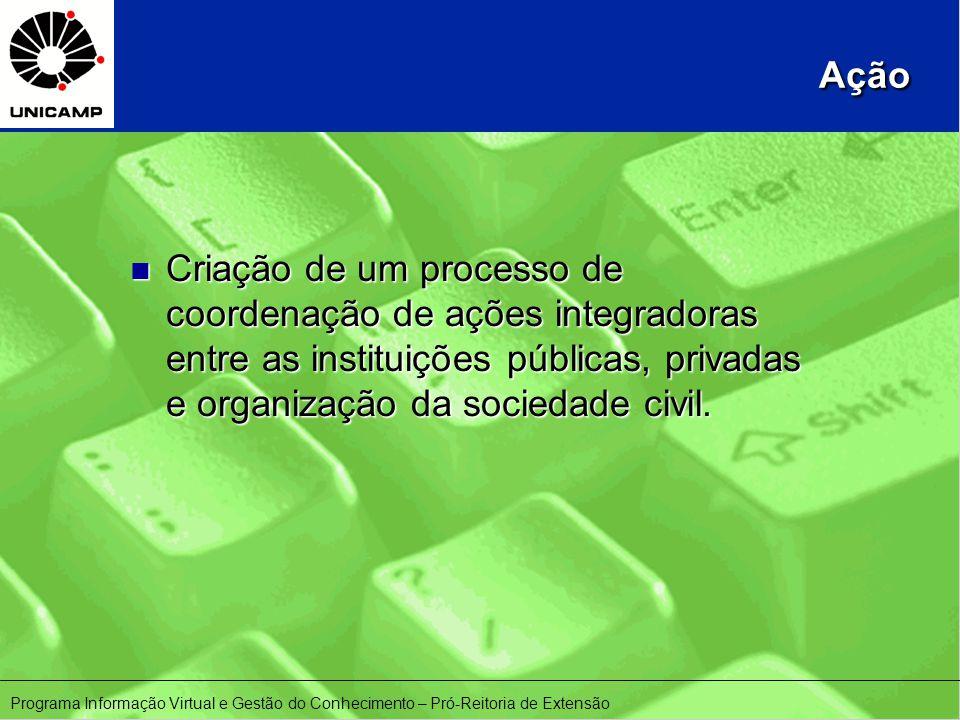 Ação n Criação de um processo de coordenação de ações integradoras entre as instituições públicas, privadas e organização da sociedade civil.