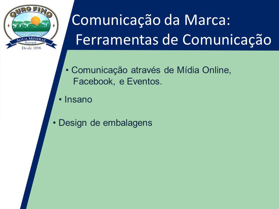 Comunicação da Marca: Ferramentas de Comunicação • Comunicação através de Mídia Online, Facebook, e Eventos.