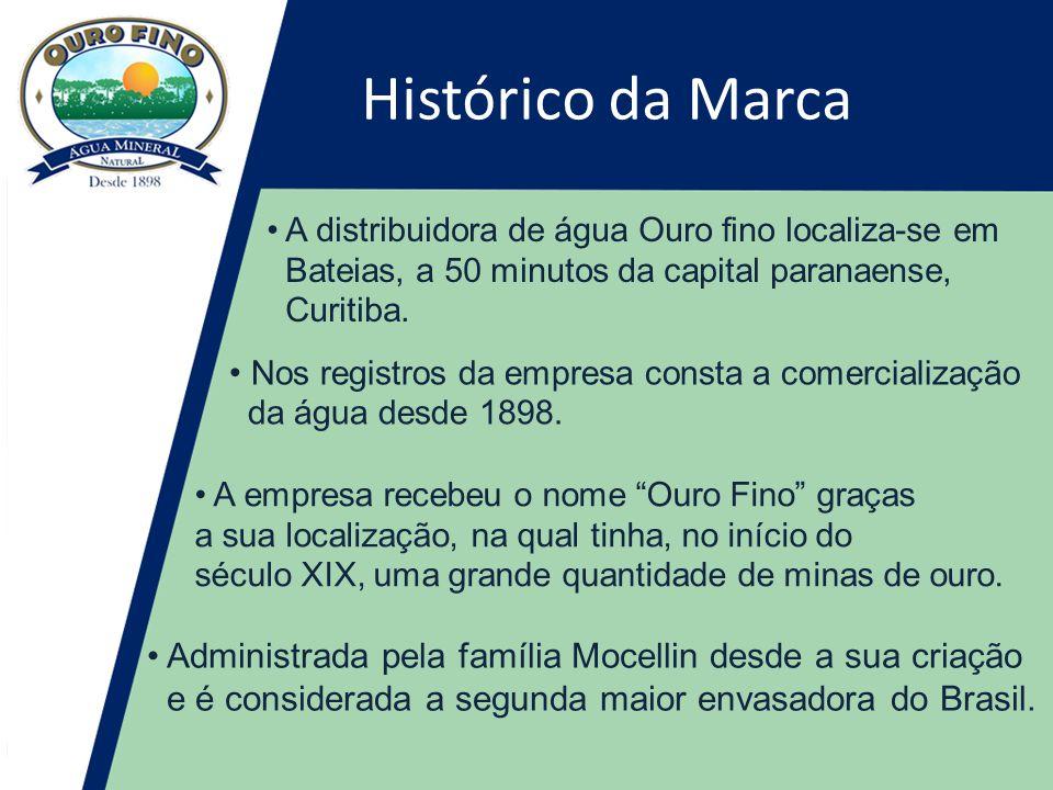 Histórico da Marca • A distribuidora de água Ouro fino localiza-se em Bateias, a 50 minutos da capital paranaense, Curitiba.