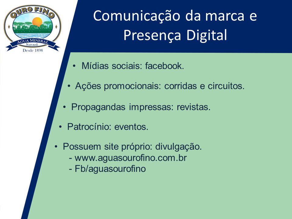 Comunicação da marca e Presença Digital •Mídias sociais: facebook.