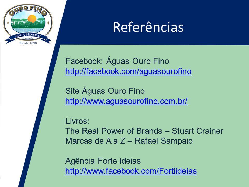 Referências Facebook: Águas Ouro Fino http://facebook.com/aguasourofino Site Águas Ouro Fino http://facebook.com/aguasourofino http://www.aguasourofino.com.br/ http://www.aguasourofino.com.br/ Livros: The Real Power of Brands – Stuart Crainer Marcas de A a Z – Rafael Sampaio Agência Forte Ideias http://www.facebook.com/Fortiideias http://www.facebook.com/Fortiideias