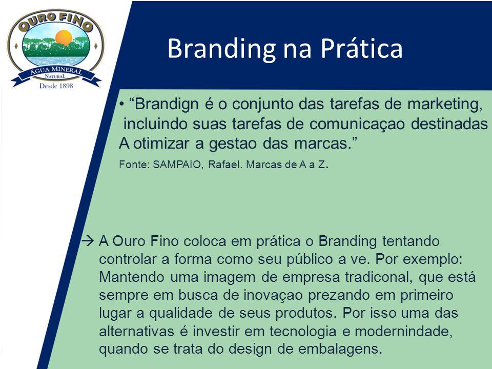 Branding na Prática • Brandign é o conjunto das tarefas de marketing, incluindo suas tarefas de comunicaçao destinadas A otimizar a gestao das marcas. Fonte: SAMPAIO, Rafael.