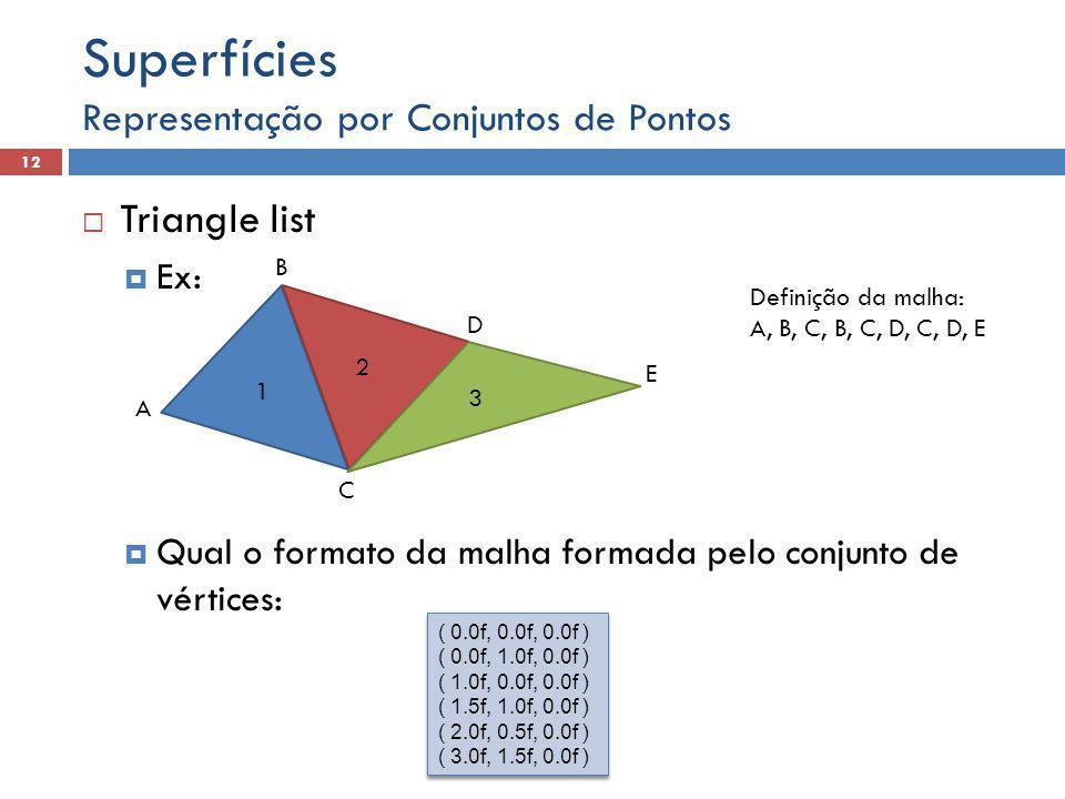 Representação por Conjuntos de Pontos 12 Superfícies  Triangle list  Ex:  Qual o formato da malha formada pelo conjunto de vértices: 1 2 3 Definição da malha: A, B, C, B, C, D, C, D, E A B C D E ( 0.0f, 0.0f, 0.0f ) ( 0.0f, 1.0f, 0.0f ) ( 1.0f, 0.0f, 0.0f ) ( 1.5f, 1.0f, 0.0f ) ( 2.0f, 0.5f, 0.0f ) ( 3.0f, 1.5f, 0.0f ) ( 0.0f, 0.0f, 0.0f ) ( 0.0f, 1.0f, 0.0f ) ( 1.0f, 0.0f, 0.0f ) ( 1.5f, 1.0f, 0.0f ) ( 2.0f, 0.5f, 0.0f ) ( 3.0f, 1.5f, 0.0f )