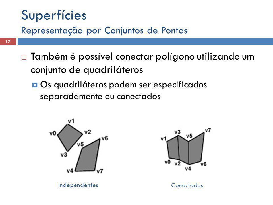Representação por Conjuntos de Pontos 17 Superfícies  Também é possível conectar polígono utilizando um conjunto de quadriláteros  Os quadriláteros podem ser especificados separadamente ou conectados Independentes Conectados