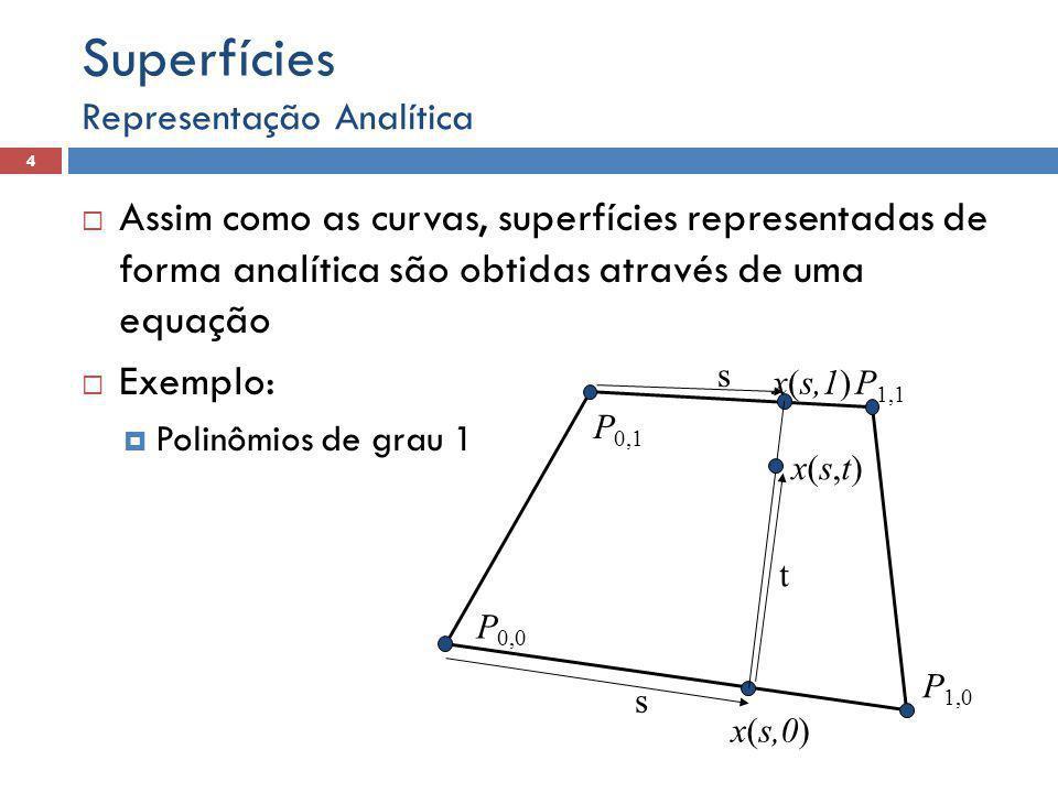  Assim como as curvas, superfícies representadas de forma analítica são obtidas através de uma equação  Exemplo:  Polinômios de grau 1 Representação Analítica 4 Superfícies s t s x(s,t)x(s,t) P 0,0 P 1,0 P 1,1 P 0,1 x(s,0) x(s,1)