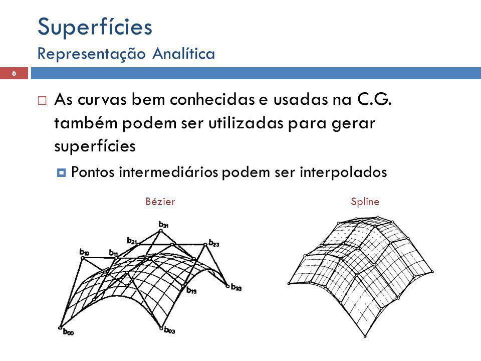  As curvas bem conhecidas e usadas na C.G. também podem ser utilizadas para gerar superfícies  Pontos intermediários podem ser interpolados Represen