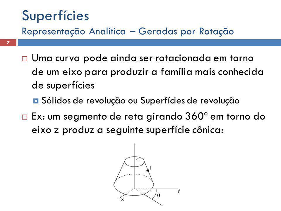 Representação Analítica – Geradas por Rotação 7 Superfícies  Uma curva pode ainda ser rotacionada em torno de um eixo para produzir a família mais conhecida de superfícies  Sólidos de revolução ou Superfícies de revolução  Ex: um segmento de reta girando 360º em torno do eixo z produz a seguinte superfície cônica: