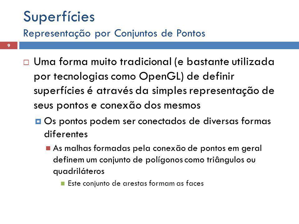 Representação por Conjuntos de Pontos 9 Superfícies  Uma forma muito tradicional (e bastante utilizada por tecnologias como OpenGL) de definir superf