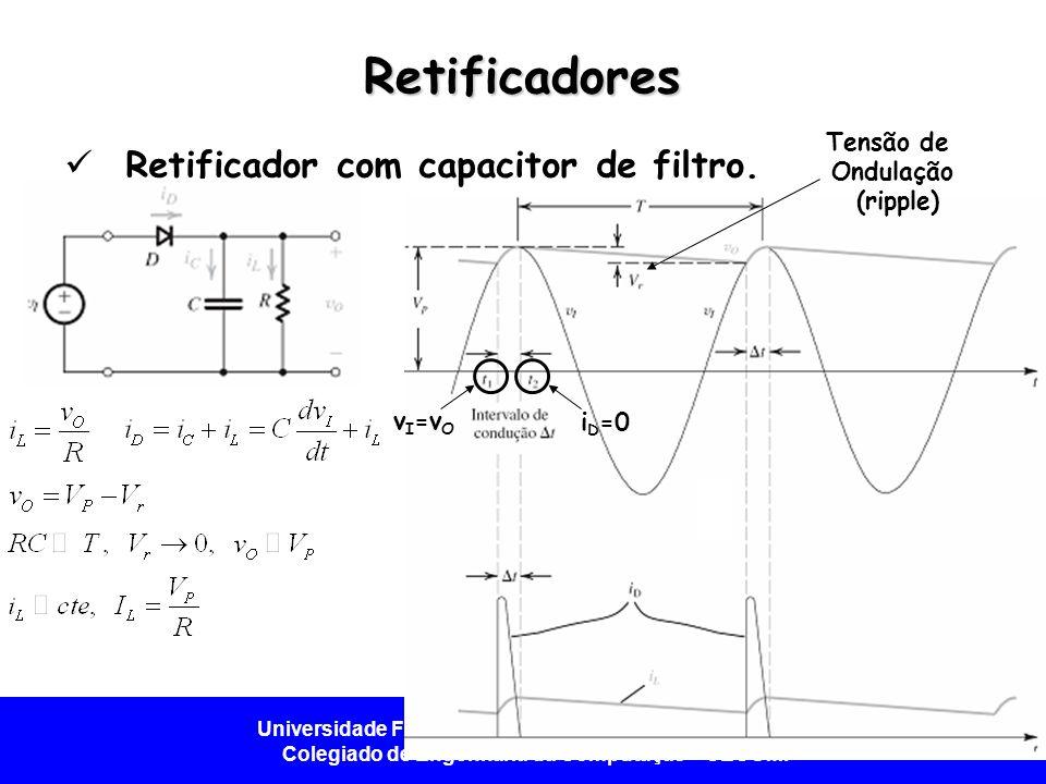 Universidade Federal do Vale do São Francisco - UNIVASF Colegiado de Engenharia da Computação – CECOMP Retificadores  Retificador com capacitor de fi