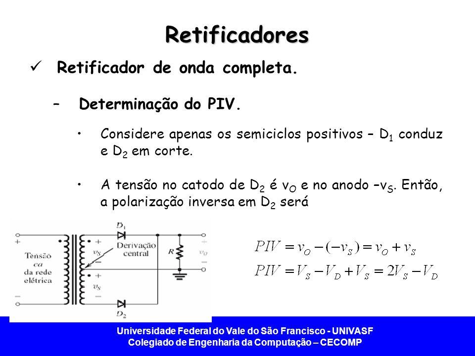 Universidade Federal do Vale do São Francisco - UNIVASF Colegiado de Engenharia da Computação – CECOMP Retificadores  Retificador de onda completa. –