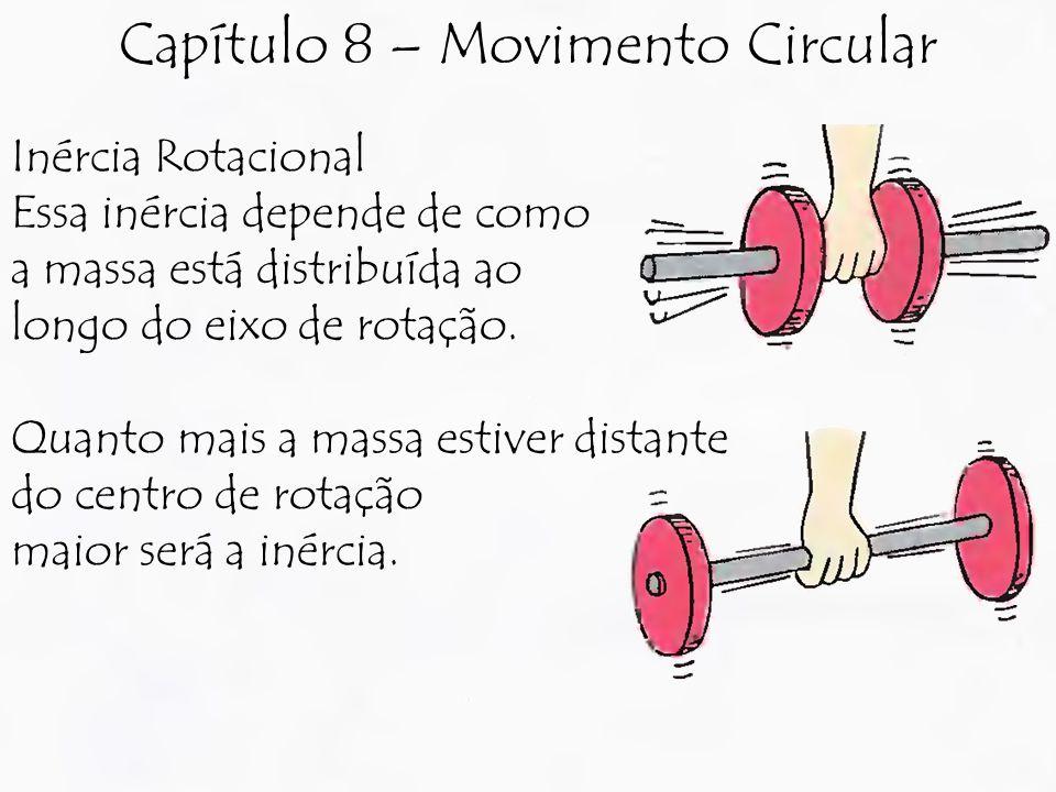 Inércia Rotacional Essa inércia depende de como a massa está distribuída ao longo do eixo de rotação. Quanto mais a massa estiver distante do centro d