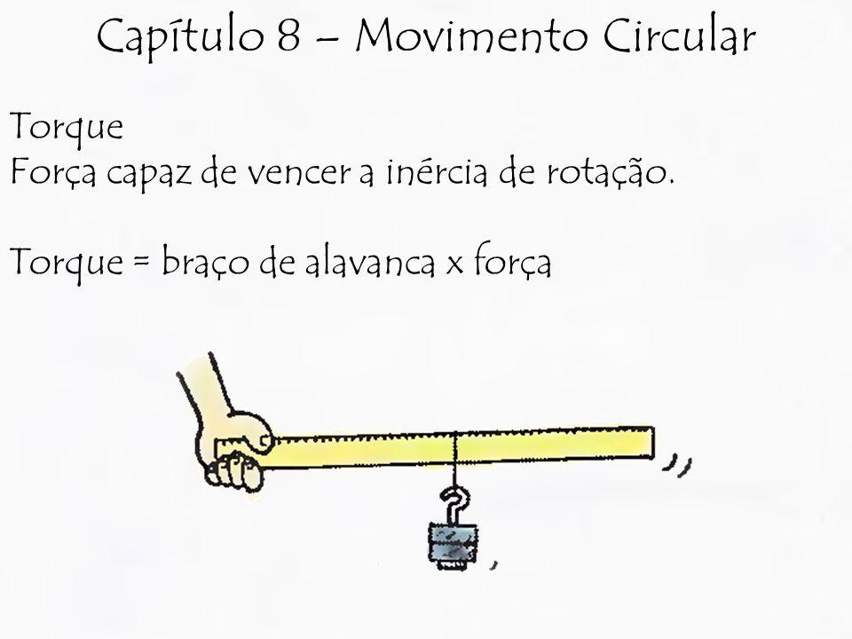 Torque Força capaz de vencer a inércia de rotação. Torque = braço de alavanca x força Capítulo 8 – Movimento Circular