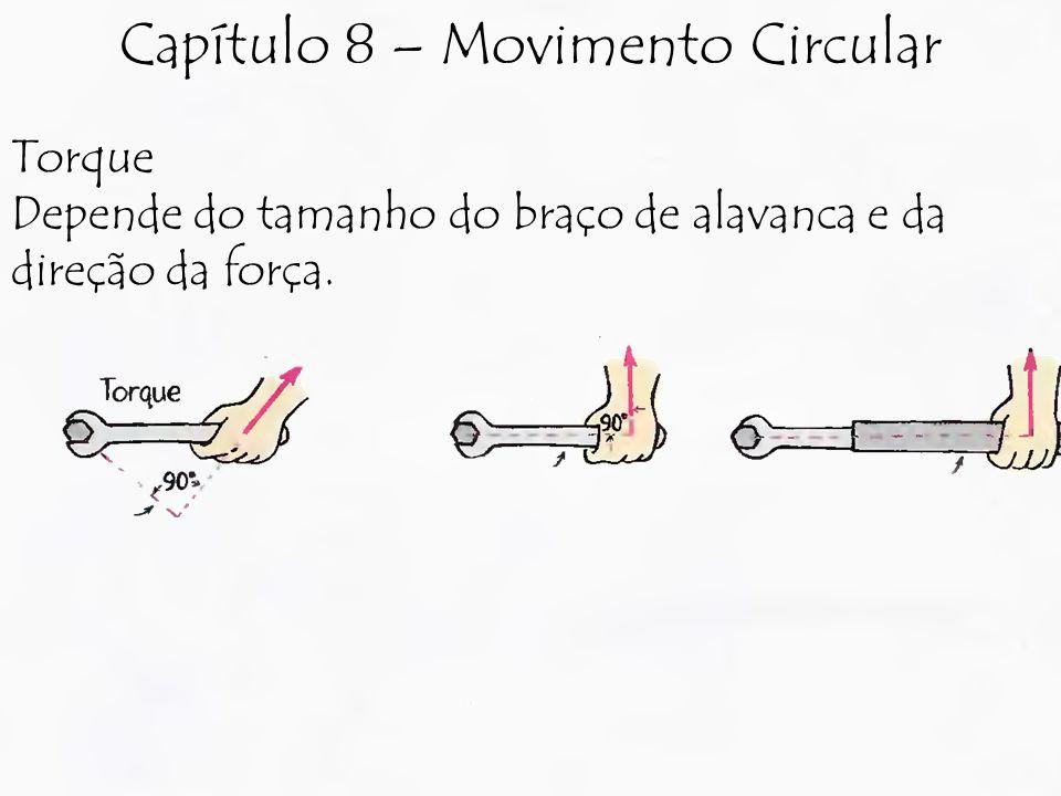 Torque Depende do tamanho do braço de alavanca e da direção da força. Capítulo 8 – Movimento Circular