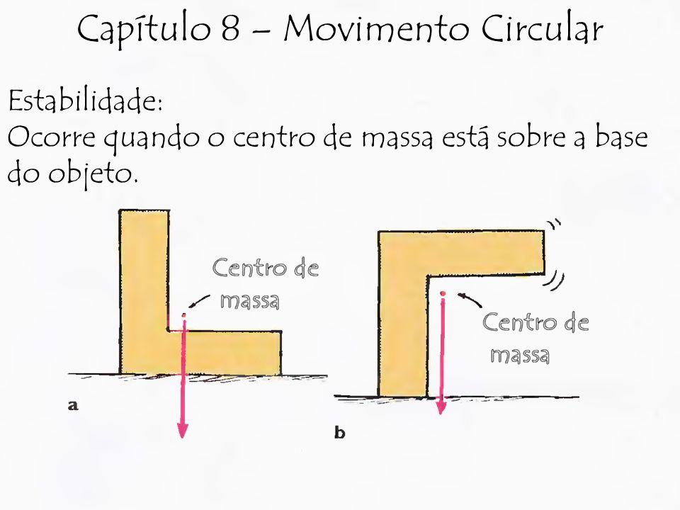 Estabilidade: Ocorre quando o centro de massa está sobre a base do objeto. Capítulo 8 – Movimento Circular