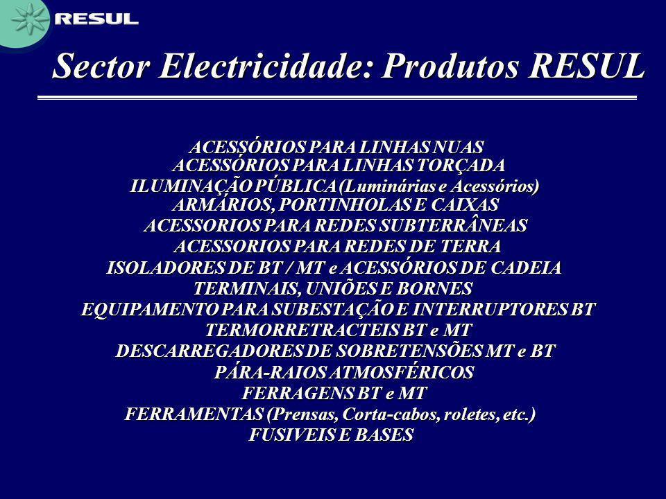 Sector Electricidade: Produtos RESUL ACESSÓRIOS PARA LINHAS NUAS ACESSÓRIOS PARA LINHAS TORÇADA ILUMINAÇÃO PÚBLICA (Luminárias e Acessórios) ARMÁRIOS,