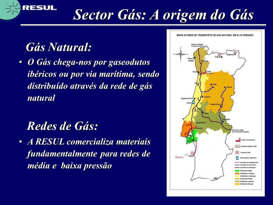 Sector Gás: A origem do Gás Gás Natural: •O Gás chega-nos por gaseodutos ibéricos ou por via marítima, sendo distribuído através da rede de gás natura