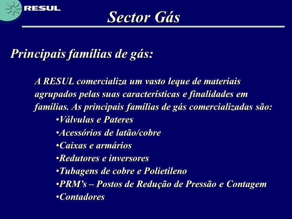 Principais famílias de gás: Sector Gás A RESUL comercializa um vasto leque de materiais agrupados pelas suas características e finalidades em famílias