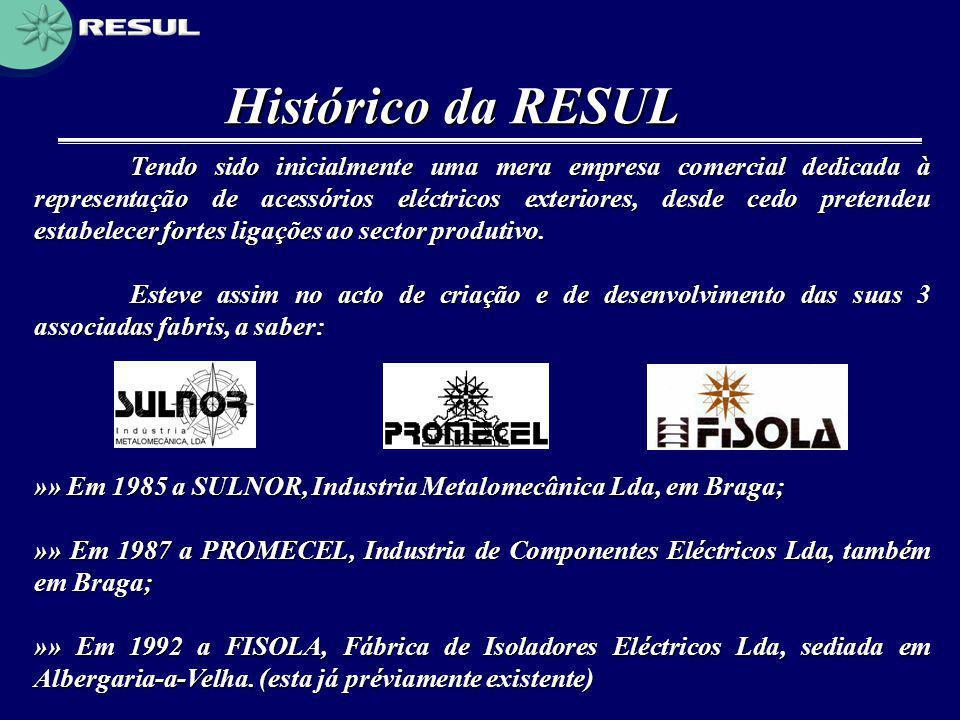 Histórico da RESUL Tendo sido inicialmente uma mera empresa comercial dedicada à representação de acessórios eléctricos exteriores, desde cedo pretend