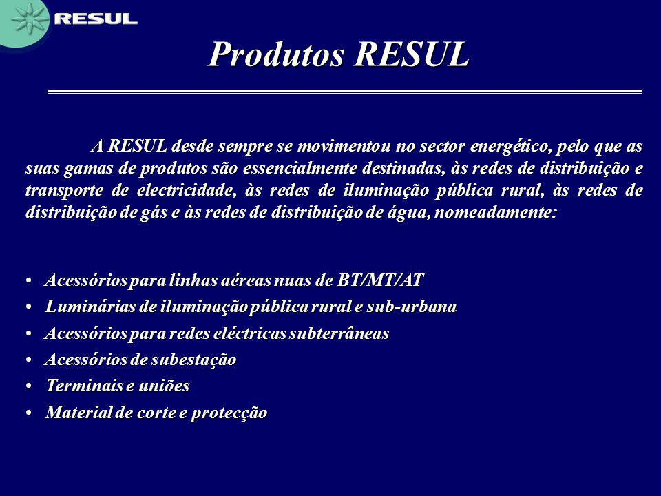 Produtos RESUL A RESUL desde sempre se movimentou no sector energético, pelo que as suas gamas de produtos são essencialmente destinadas, às redes de
