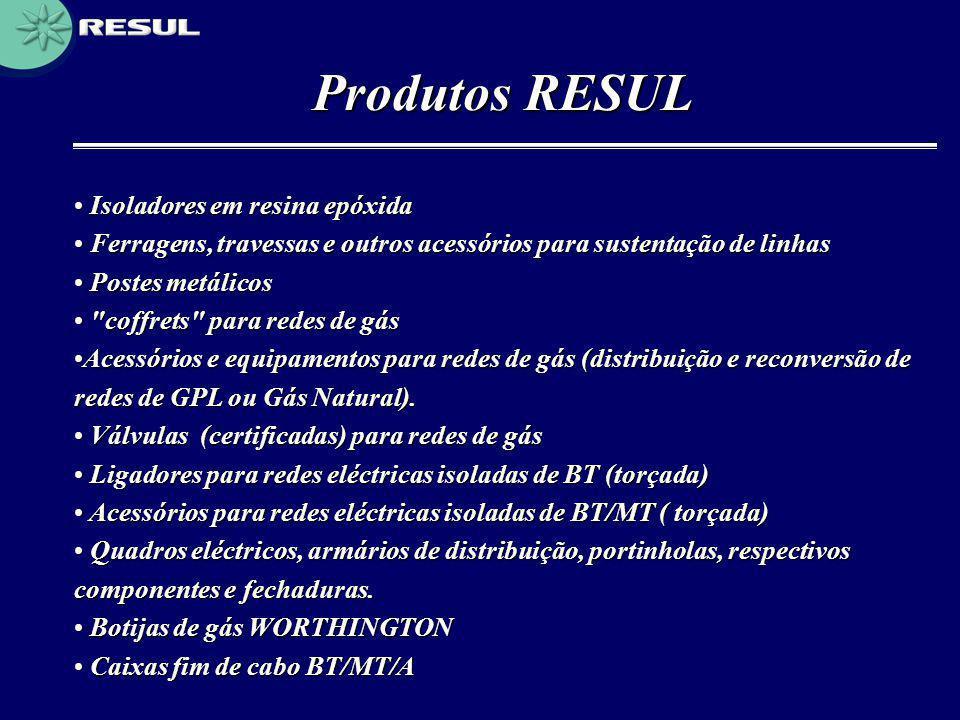 Produtos RESUL • Isoladores em resina epóxida • Ferragens, travessas e outros acessórios para sustentação de linhas • Postes metálicos •
