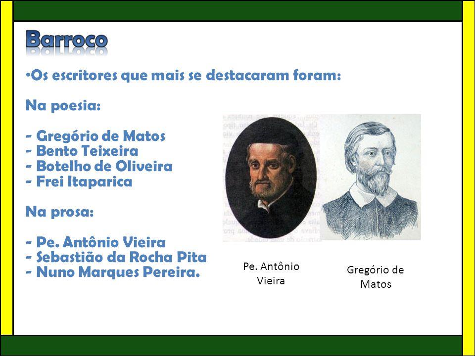 • Os escritores que mais se destacaram foram: Na poesia: - Gregório de Matos - Bento Teixeira - Botelho de Oliveira - Frei Itaparica Na prosa: - Pe. A