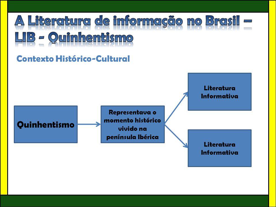 Contexto Histórico-Cultural Quinhentismo Representava o momento histórico vivido na península Ibérica Literatura Informativa