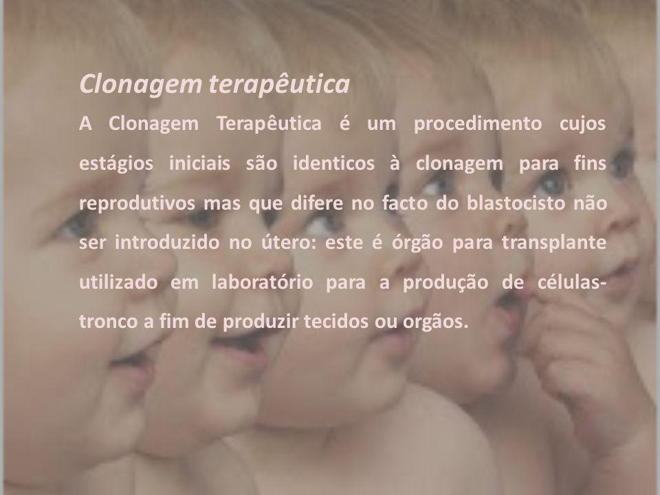 Clonagem terapêutica A Clonagem Terapêutica é um procedimento cujos estágios iniciais são identicos à clonagem para fins reprodutivos mas que difere n