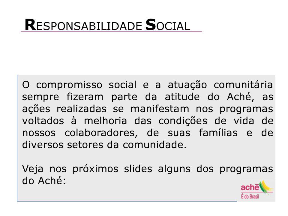 O compromisso social e a atuação comunitária sempre fizeram parte da atitude do Aché, as ações realizadas se manifestam nos programas voltados à melhoria das condições de vida de nossos colaboradores, de suas famílias e de diversos setores da comunidade.