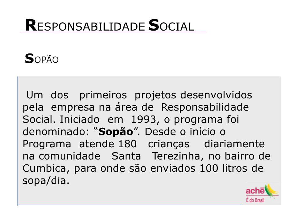 S OPÃO Um dos primeiros projetos desenvolvidos pela empresa na área de Responsabilidade Social.