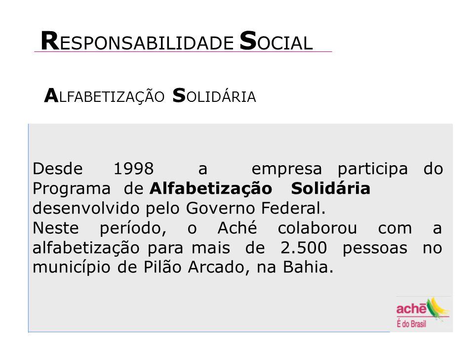 Desde 1998 a empresa participa do Programa de Alfabetização Solidária desenvolvido pelo Governo Federal.