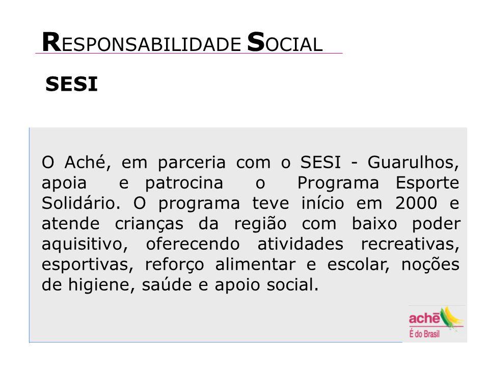 O Aché, em parceria com o SESI - Guarulhos, apoia e patrocina o Programa Esporte Solidário.