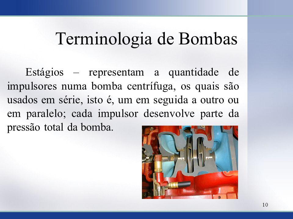 Terminologia de Bombas Estágios – representam a quantidade de impulsores numa bomba centrífuga, os quais são usados em série, isto é, um em seguida a