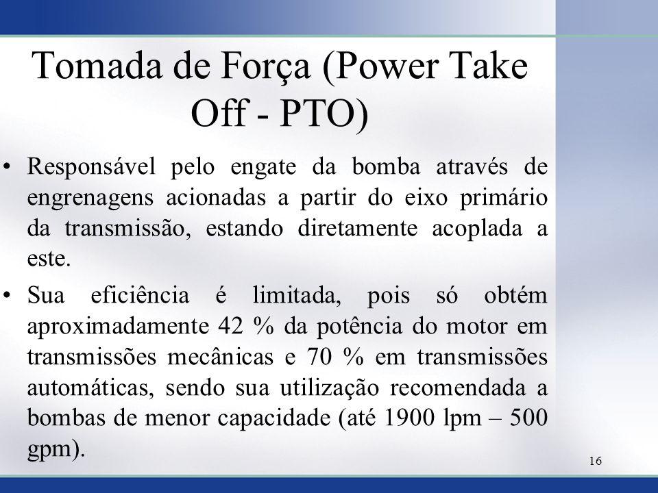 Tomada de Força (Power Take Off - PTO) •Responsável pelo engate da bomba através de engrenagens acionadas a partir do eixo primário da transmissão, es