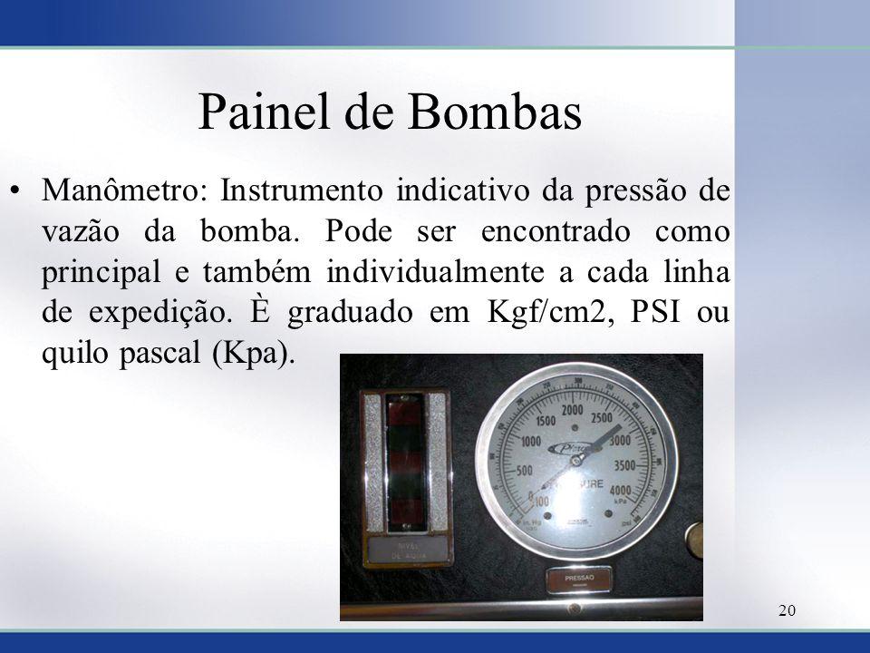 Painel de Bombas •Manômetro: Instrumento indicativo da pressão de vazão da bomba. Pode ser encontrado como principal e também individualmente a cada l