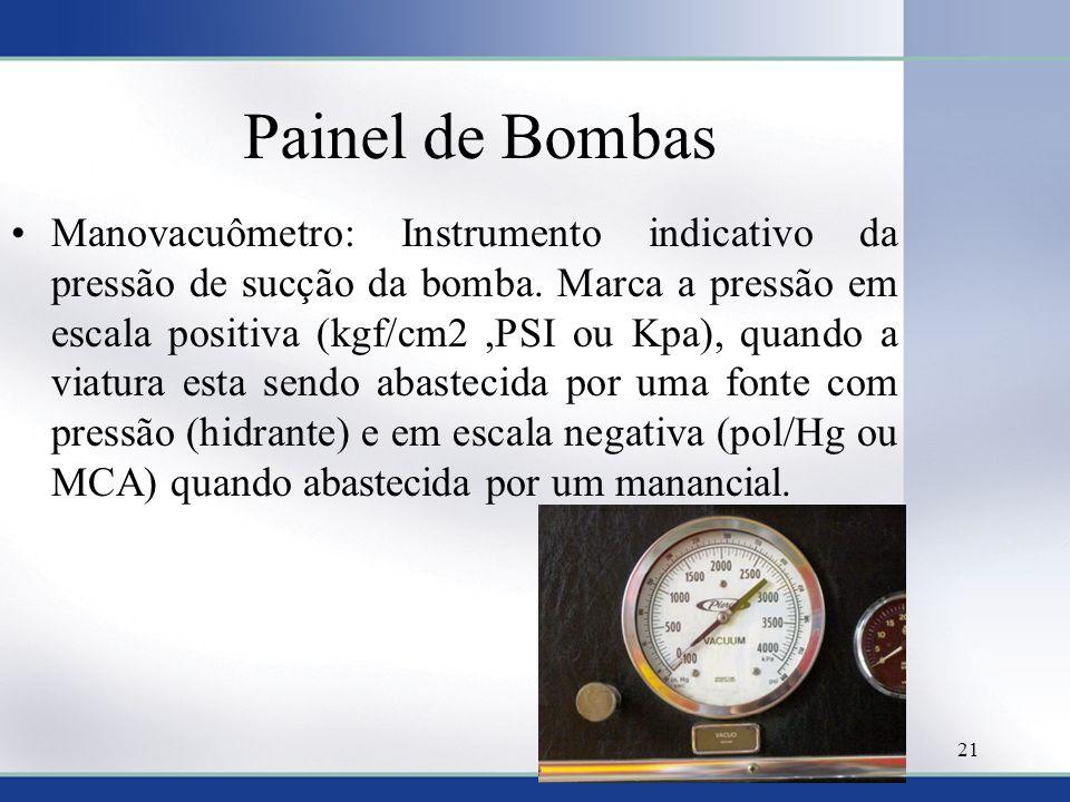 Painel de Bombas •Manovacuômetro: Instrumento indicativo da pressão de sucção da bomba. Marca a pressão em escala positiva (kgf/cm2,PSI ou Kpa), quand