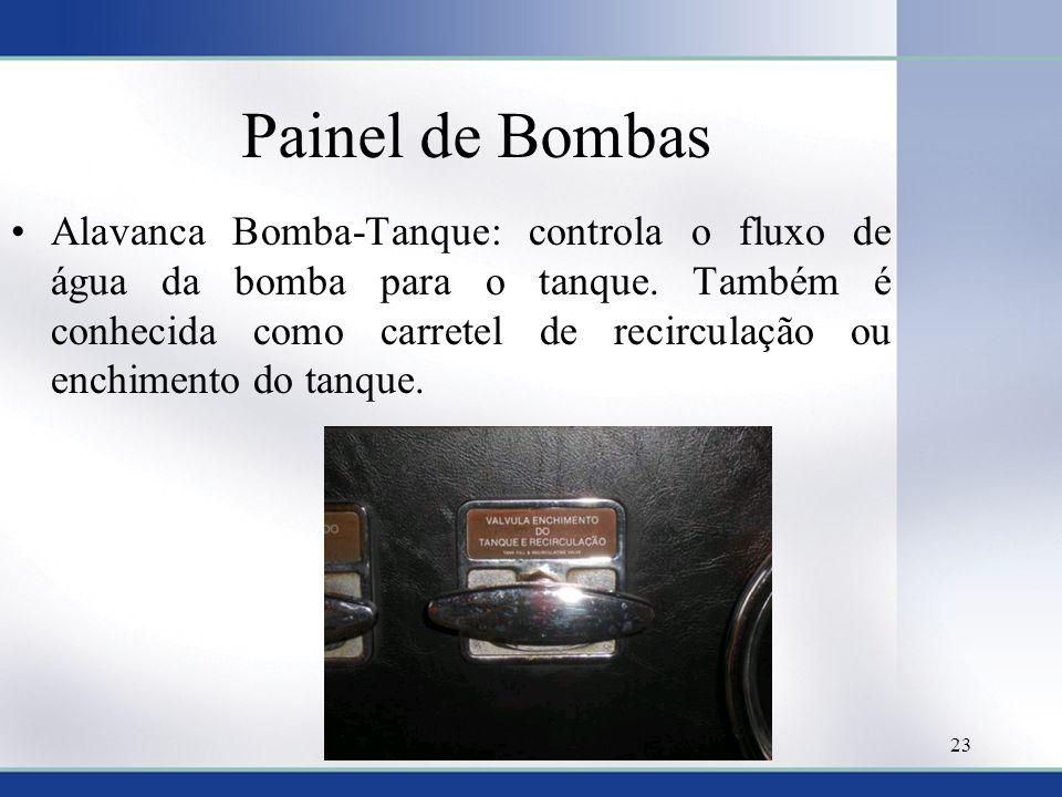 Painel de Bombas •Alavanca Bomba-Tanque: controla o fluxo de água da bomba para o tanque. Também é conhecida como carretel de recirculação ou enchimen