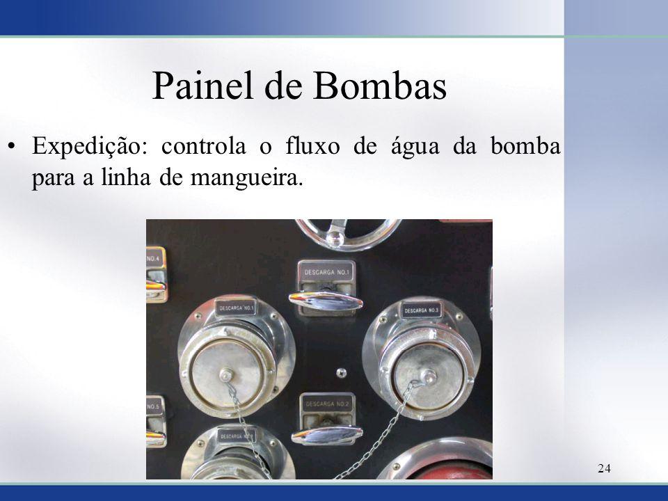 Painel de Bombas •Expedição: controla o fluxo de água da bomba para a linha de mangueira. 24