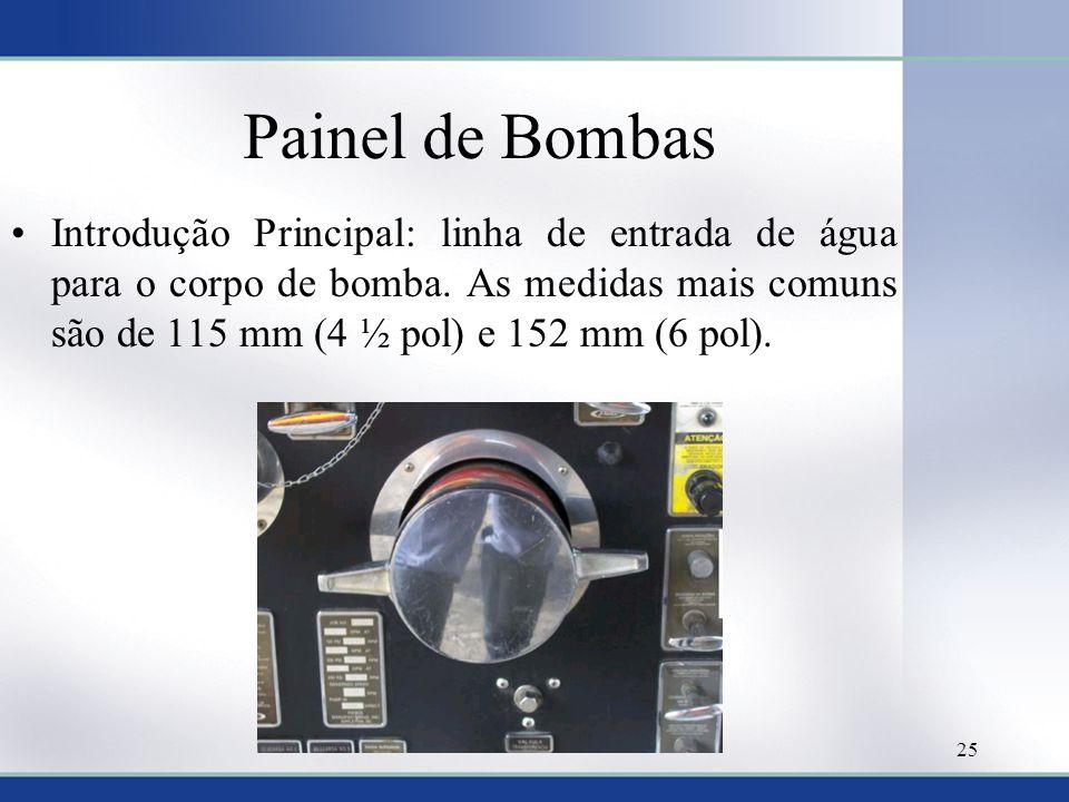 Painel de Bombas •Introdução Principal: linha de entrada de água para o corpo de bomba. As medidas mais comuns são de 115 mm (4 ½ pol) e 152 mm (6 pol