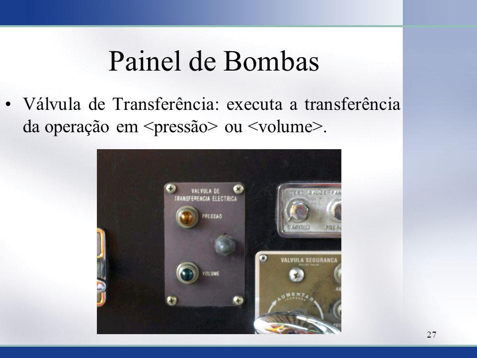 Painel de Bombas •Válvula de Transferência: executa a transferência da operação em ou. 27
