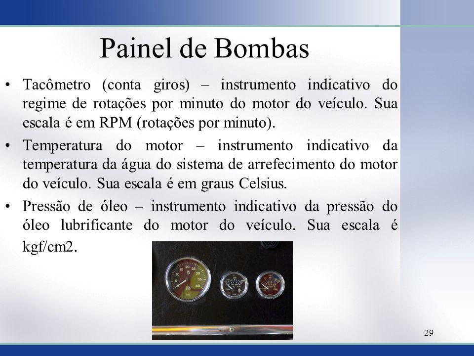 Painel de Bombas •Tacômetro (conta giros) – instrumento indicativo do regime de rotações por minuto do motor do veículo. Sua escala é em RPM (rotações
