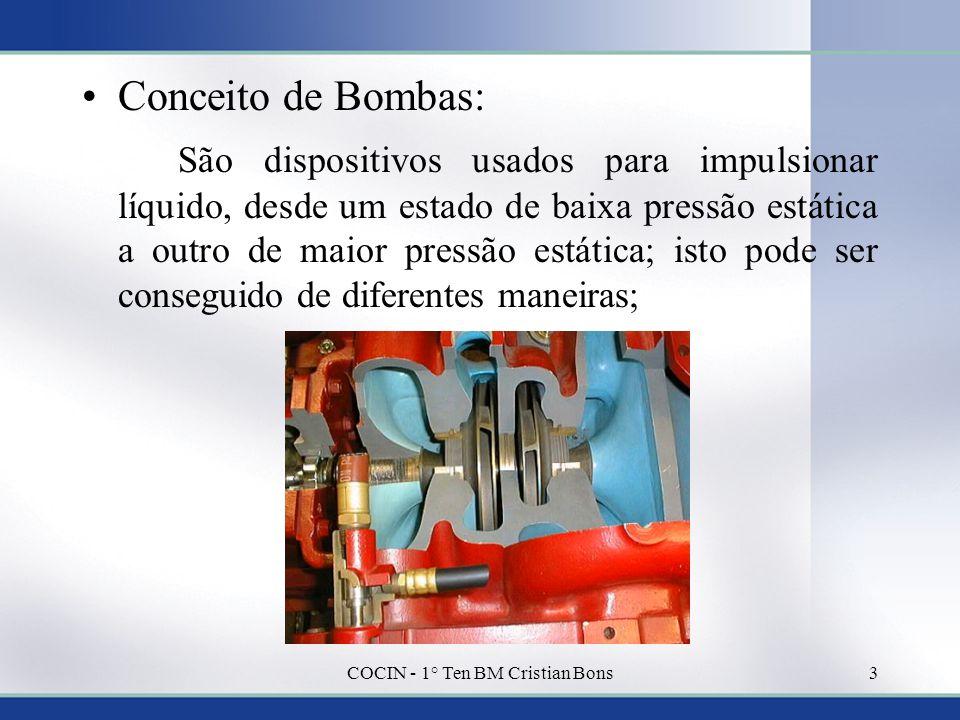 •Conceito de Bombas: São dispositivos usados para impulsionar líquido, desde um estado de baixa pressão estática a outro de maior pressão estática; is
