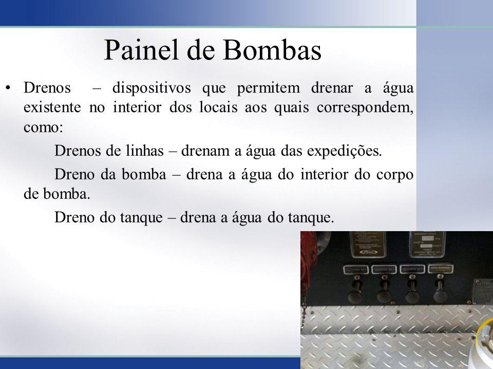Painel de Bombas •Drenos – dispositivos que permitem drenar a água existente no interior dos locais aos quais correspondem, como: Drenos de linhas – d
