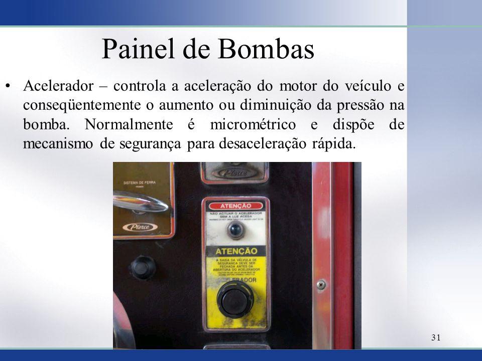 Painel de Bombas •Acelerador – controla a aceleração do motor do veículo e conseqüentemente o aumento ou diminuição da pressão na bomba. Normalmente é