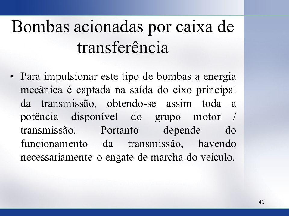 Bombas acionadas por caixa de transferência •Para impulsionar este tipo de bombas a energia mecânica é captada na saída do eixo principal da transmiss