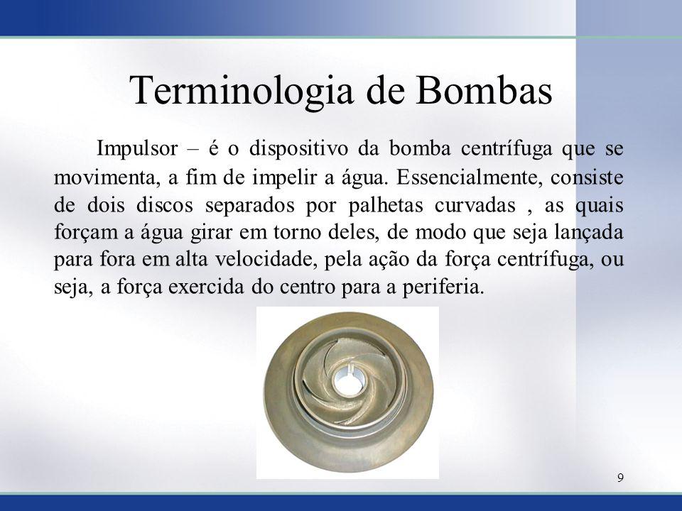 Terminologia de Bombas Impulsor – é o dispositivo da bomba centrífuga que se movimenta, a fim de impelir a água. Essencialmente, consiste de dois disc