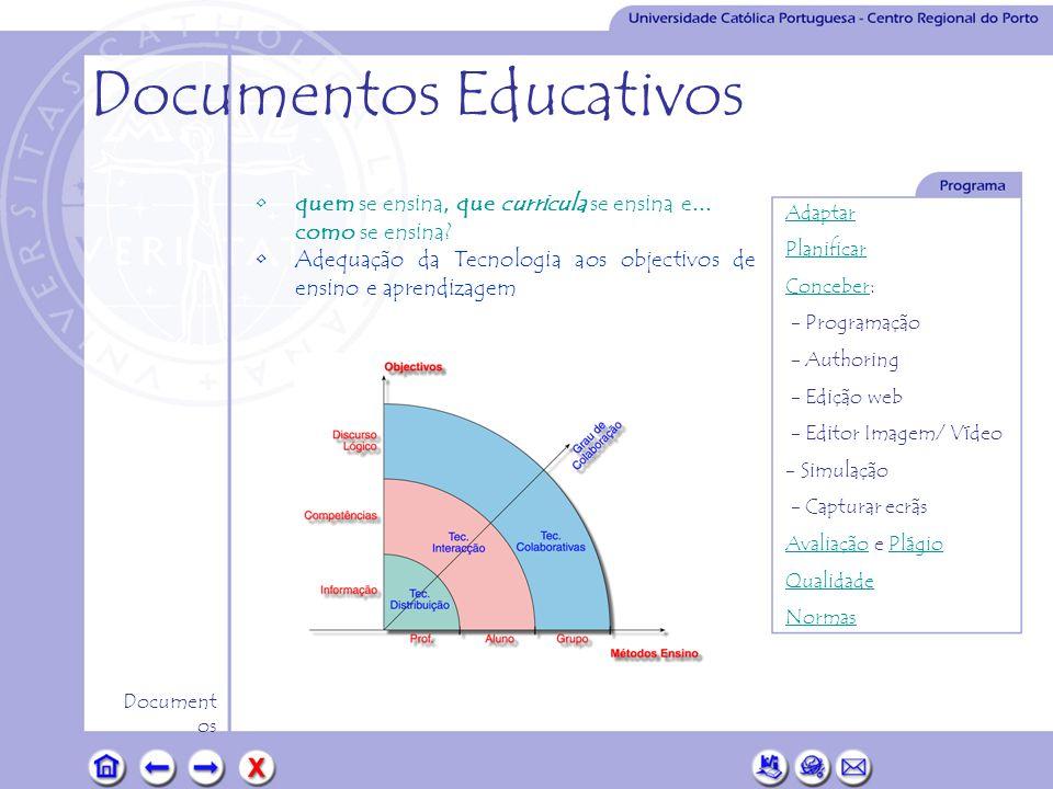 Adaptar Planificar ConceberConceber: - Programação - Authoring - Edição web - Editor Imagem/ Vídeo - Simulação - Capturar ecrãs AvaliaçãoAvaliação e PlágioPlágio Qualidade Normas Document os Documentos Educativos •Em síntese, as iniciativas de normalização desenvolvem-se nos três domínios seguintes: Portabilidade do conteúdo, Gradualidade e Inter-operacionalidade •ADL (Advanced Distributive Learning).