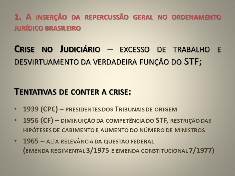 1. A INSERÇÃO DA REPERCUSSÃO GERAL NO ORDENAMENTO JURÍDICO BRASILEIRO C RISE NO J UDICIÁRIO – EXCESSO DE TRABALHO E DESVIRTUAMENTO DA VERDADEIRA FUNÇÃ