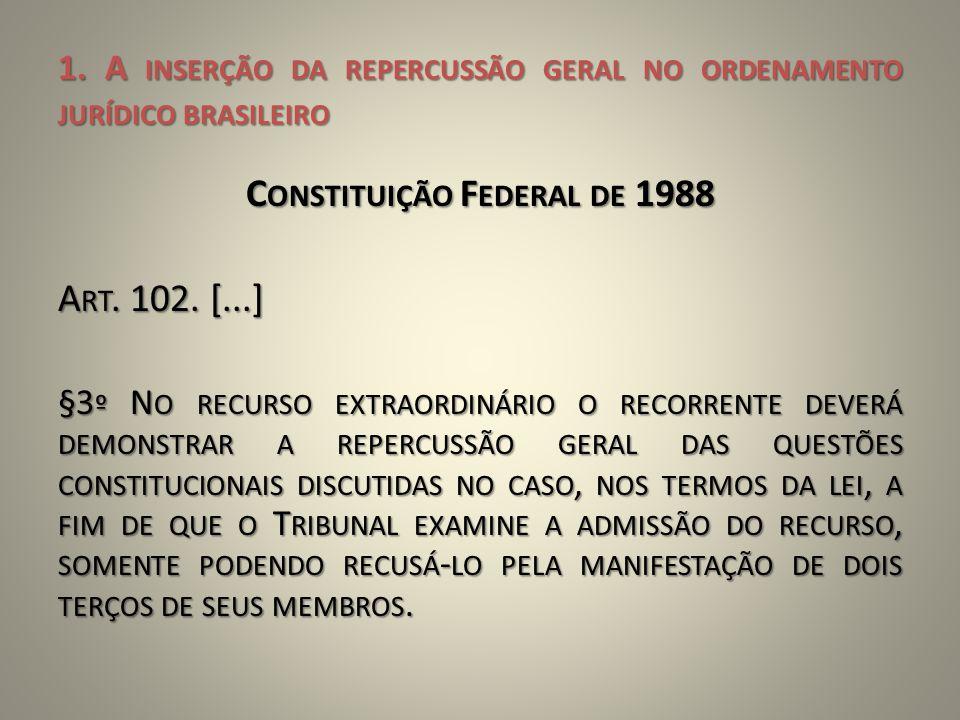 1. A INSERÇÃO DA REPERCUSSÃO GERAL NO ORDENAMENTO JURÍDICO BRASILEIRO C ONSTITUIÇÃO F EDERAL DE 1988 A RT. 102. [...] §3 º N O RECURSO EXTRAORDINÁRIO