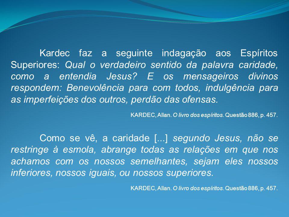 Kardec faz a seguinte indagação aos Espíritos Superiores: Qual o verdadeiro sentido da palavra caridade, como a entendia Jesus? E os mensageiros divin